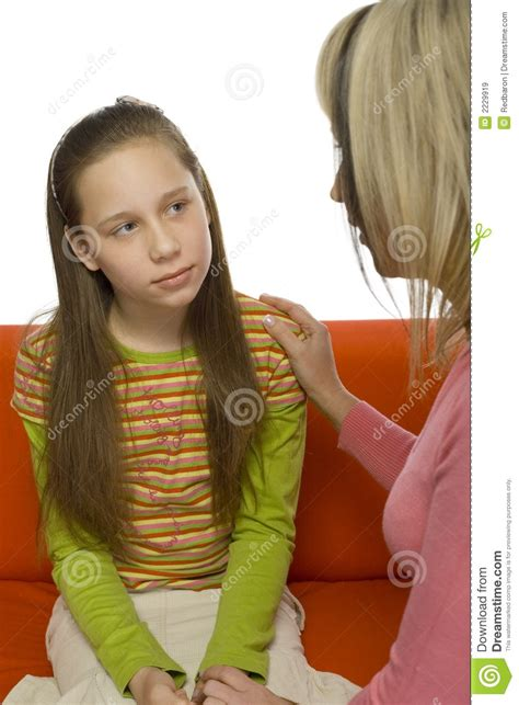 mother daughter conversation stock image image