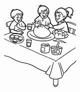 Breakfast Coloring Thanksgiving Pages Dinner Table Doing Three Feast Popular Canada Getdrawings sketch template