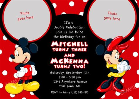 details  mickey mouse birthday invitation party card
