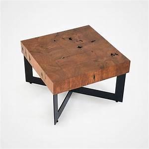 reclaimed wood mosaic coffee table black metal base 004 With black metal and wood coffee table