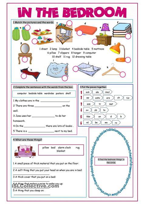bedroom vocabulary exercises teaching kids esl
