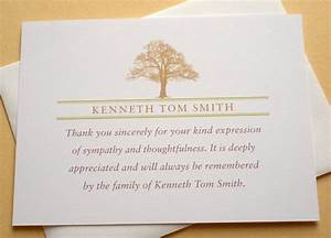 Funeral thank you notes with a strong tree personalized for Thank you note for condolence gift