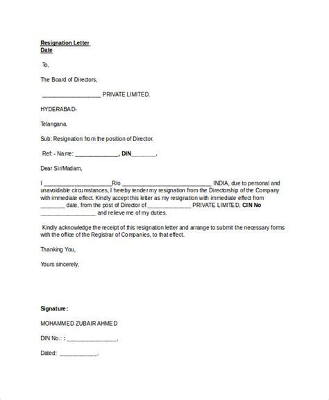 standard resignation letter template  sample