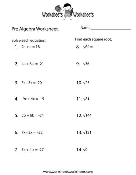 pre algebra practice worksheet printable lessons algebra worksheets teacher worksheets algebra