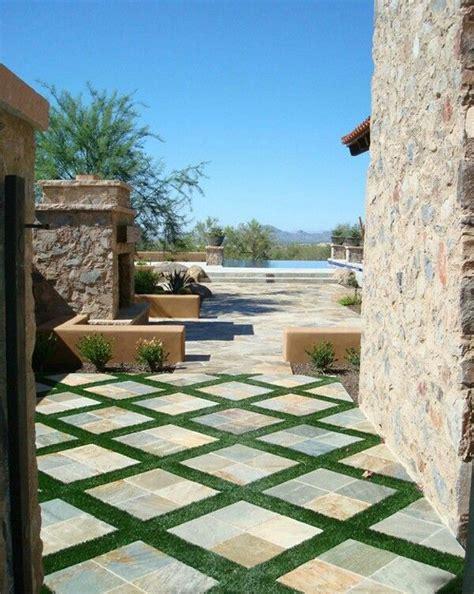 grass tile patio garden