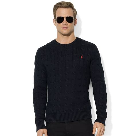 black sweater lyst ralph roving crew neck cable cotton sweater