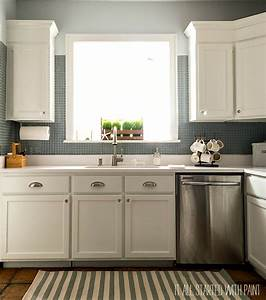 builder grade kitchen makeover with white paint With kitchen colors with white cabinets with how to put up canvas wall art