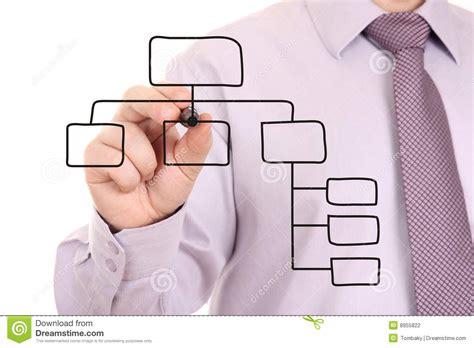 man drawing  organization chart stock photography