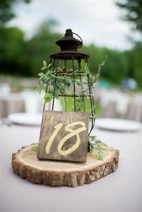 rustic lantern  wood centerpiece