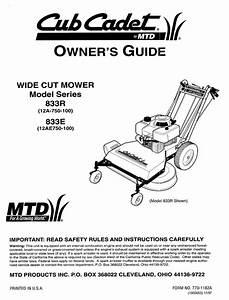 Cub Cadet 833e Series Owner U0026 39 S Manual Pdf Download