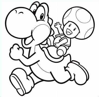 Yoshi Mario Coloring Toad Pages Super Drawing