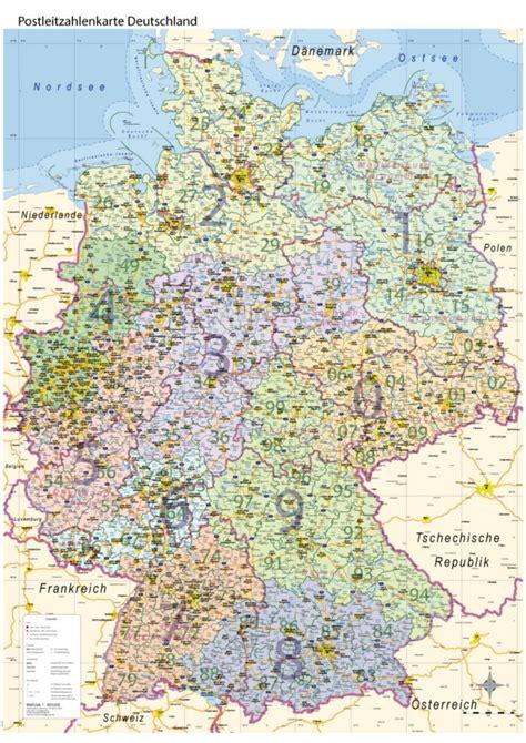 postleitzahlen karte poster plz deutschland mit