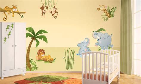 chambre 2 enfants chambre bébé la jungle leostickers