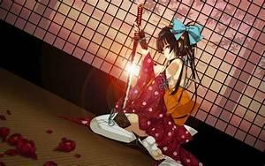 Original, Characters, Anime, Anime, Girls, Katana, Sword, Kimono, Wallpapers, Hd, Desktop, And