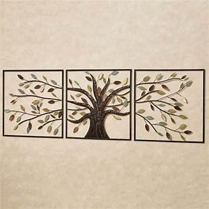 Ever changing brown tree metal wall art set