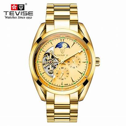 Tevise Watches Automatic Gold Stainless Mens Steel
