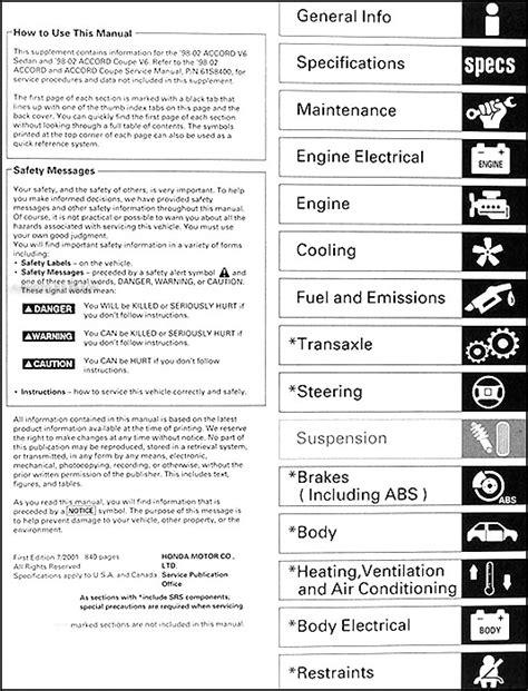 auto repair manual online 2002 honda accord instrument cluster 1998 2002 honda accord v6 repair shop manual supplement original