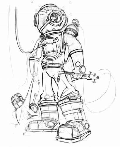 Diver Deep Sea Coloring Template Pages Sketch