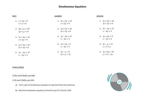 simultaneous equations  elimination worksheets