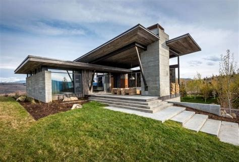 Moderne Coole Häuser by Rustikal Modernes Haus In Wyoming Pultdach Glasfenster