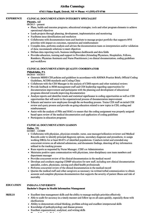 Clinical Documentation Specialist Resume by Clinical Documentation Resume Sles Velvet