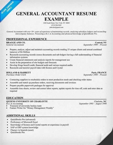 20827 accountant resume format general accountant resume sle resume sles across
