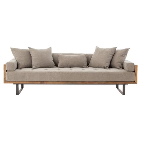 Wood Frame Loveseat by Lloyd Industrial Lodge Taupe Tufted Cushion Wood Frame Sofa