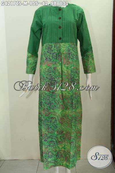 gamis batik warna hijau motif proses cap smoke long dress