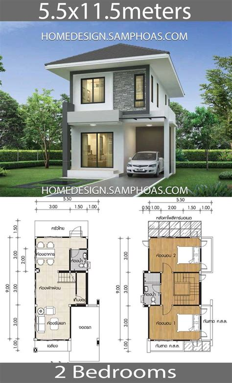 Small House design plans 5 5x11 5m with 2 bedrooms Casas