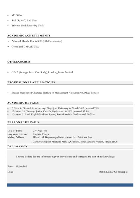 Cma Inter Resume by Satish Resume