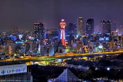 Osaka Night Japan Skyline Asian Asia Buildings