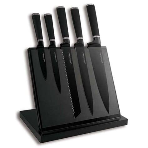 bloc de couteau de cuisine bloc aimanté noir 5 couteaux noir anti adhérent achat