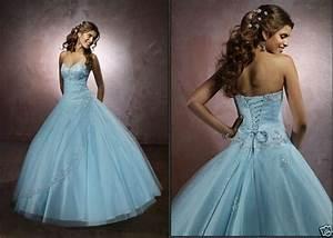 big blue wedding dresses design with ribbon and pearl With blue wedding dress designer