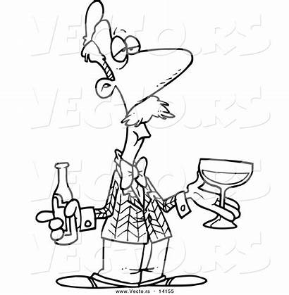 Wine Coloring Bottle Cartoon Pages Beer Vector