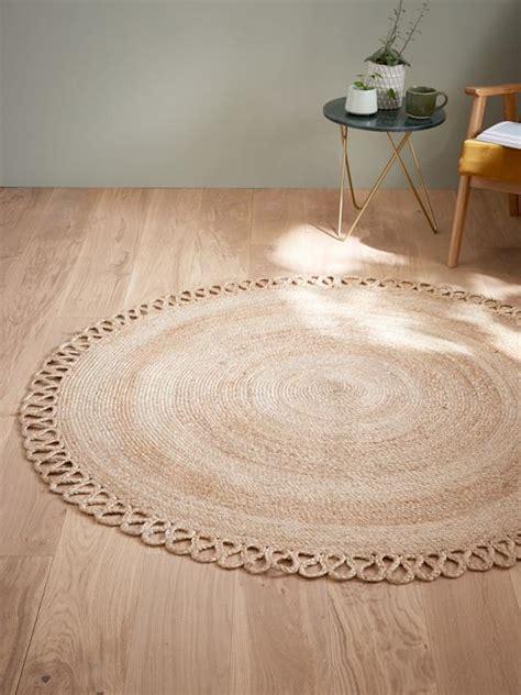 tapis rond en jute naturel maison vetement  deco