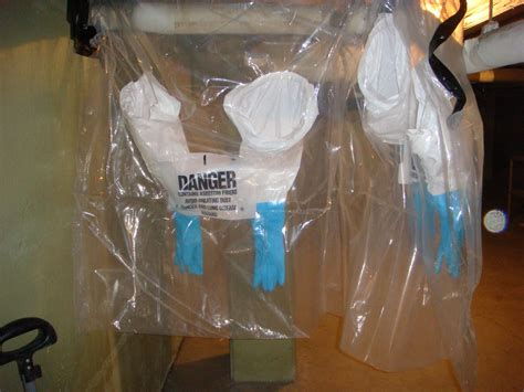asbestos pipe insulation glovebags   sealed