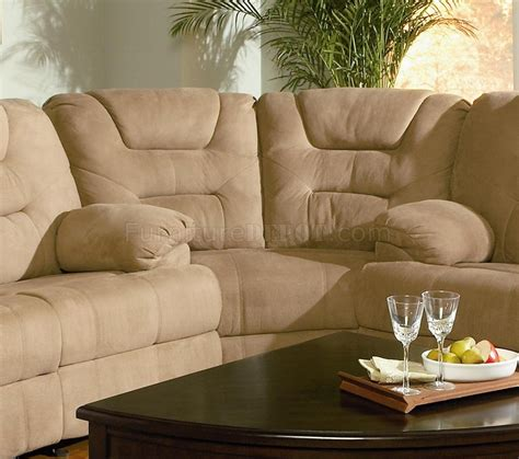 Microfiber Sectional Sofa by Modern Microfiber Reclining Sectional Sofa 600351 Mocha