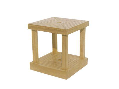 square wooden garden side table  umbrella hole base