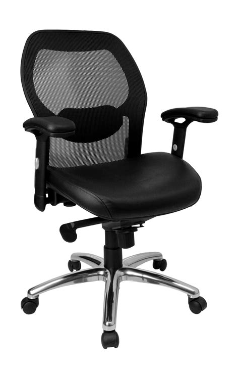 mid back mesh office chair with leather seat and