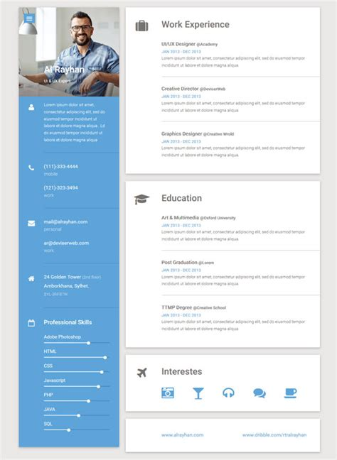 Free Resume Website Template by 50 Best Html Resume Cv Vcard Templates 2017 Freshdesignweb