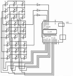 3x3x3 Led Cube Using Arduino Uno Circuit Diagram