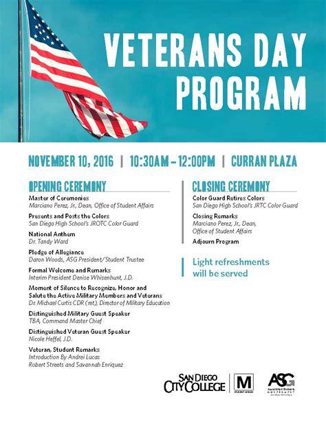 veterans day program welcome www sdcity edu