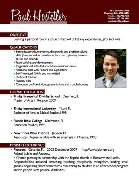 Pastor Resume by 7 Best Resume S Images On Pastor Sle