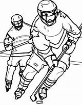 Hockey Coloring Player Pages Goalie Mask Opponent Chasing Printable Nhl Getcolorings Netart sketch template