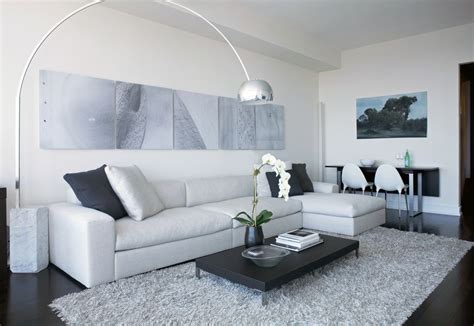 Grauer Boden Wohnzimmer by Splashy Grey Shag Rug In Living Room Modern With