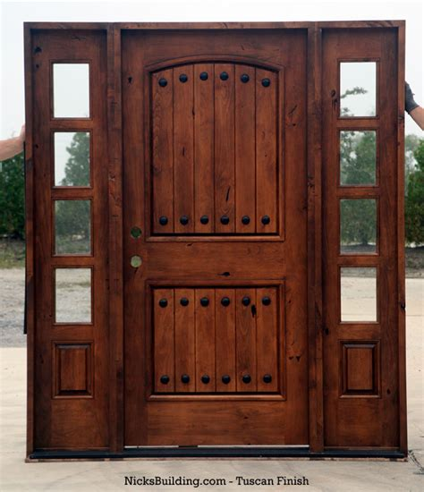 rustic tuscany knotty alder entry doors  sidelights