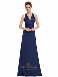 navy blue v neck sheath criss cross back bridesmaid With navy dress for fall wedding