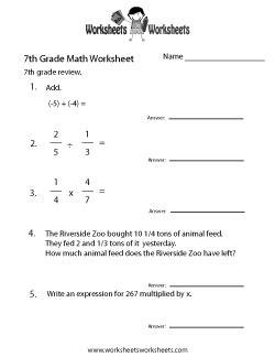 7th grade math worksheets free printable worksheets for