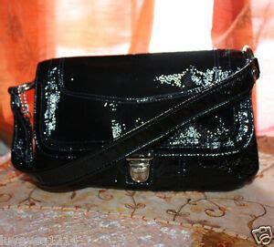 coach poppy black shiny patent leather pushlock flap layla handbag   ebay