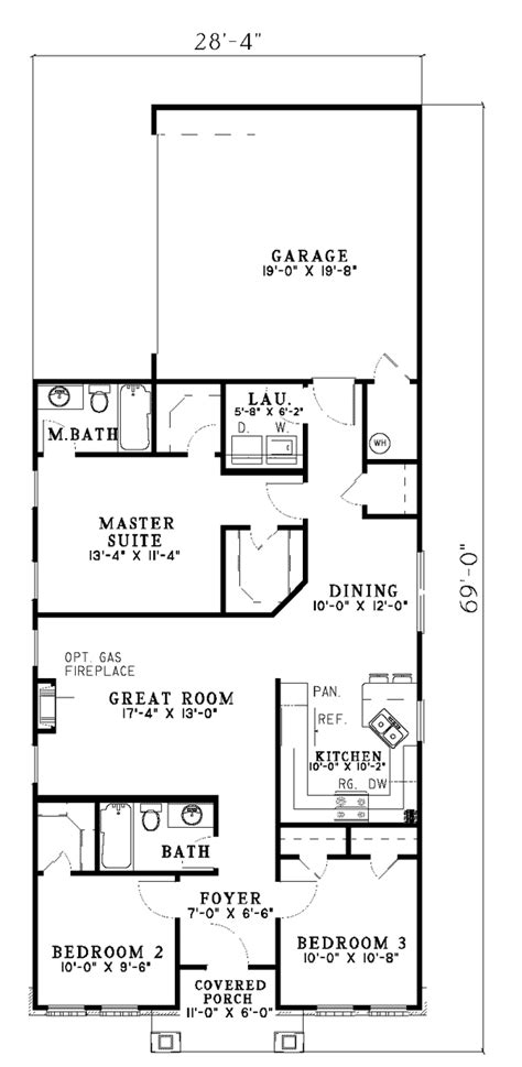 hemistone narrow lot ranch home plan   house plans
